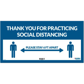 "global industrial™ blue thank you for social distancing sign, 24""w x 12""h, adhesive vinyl Global Industrial™ Blue Thank you for Social Distancing Sign, 24""W x 12""H, Adhesive Vinyl"