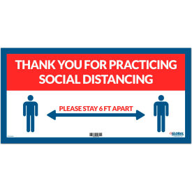 "global industrial™ red thank you for social distancing sign, 24""w x 12""h, adhesive vinyl Global Industrial™ Red Thank you for Social Distancing Sign, 24""W x 12""H, Adhesive Vinyl"