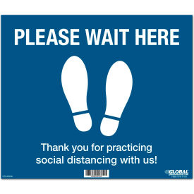"global industrial™ blue please wait here floor sign, 14""w x 12""h, vinyl adhesive Global Industrial™ Blue Please Wait Here Floor Sign, 14""W x 12""H, Vinyl Adhesive"
