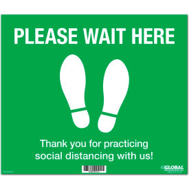 "global industrial™ green please wait here floor sign, 14""w x 12""h, vinyl adhesive Global Industrial™ Green Please Wait Here Floor Sign, 14""W x 12""H, Vinyl Adhesive"