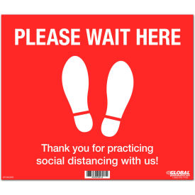 "global industrial™ red please wait here floor sign, 14""w x 12""h, vinyl adhesive Global Industrial™ Red Please Wait Here Floor Sign, 14""W x 12""H, Vinyl Adhesive"