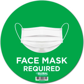 "global industrial™ 12"" round face mask required wall sign, green, adhesive Global Industrial™ 12"" Round Face Mask Required Wall Sign, Green, Adhesive"