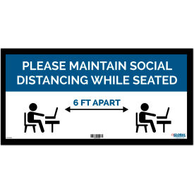 "global industrial™ blue maintain social distancing while seated sign, 24""w x 12h, adhesive Global Industrial™ Blue Maintain Social Distancing While Seated Sign, 24""W x 12H, Adhesive"