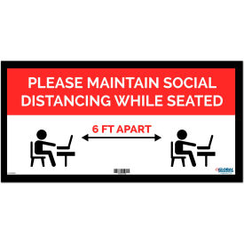 "global industrial™ red maintain social distancing while seated sign, 24""w x 12h, adhesive Global Industrial™ Red Maintain Social Distancing While Seated Sign, 24""W x 12H, Adhesive"