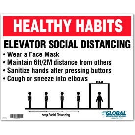 "global industrial™ elevator social distancing sign, 10""w x 8h, wall adhesive Global Industrial™ Elevator Social Distancing Sign, 10""W x 8H, Wall Adhesive"