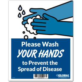 "global industrial™ wash hands to prevent disease sign, 8""w x 10""h, wall adhesive Global Industrial™ Wash Hands to Prevent Disease Sign, 8""W x 10""H, Wall Adhesive"