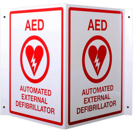 first voice™ aed 3d v-shaped projecting wall sign, plastic First Voice™ AED 3D V-Shaped Projecting Wall Sign, Plastic