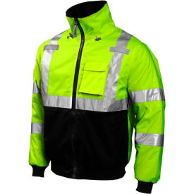 J26002.2X Tingley; J26002 Bomber Hooded Jacket, Fluorescent Yellow/Green/Black, 2XL