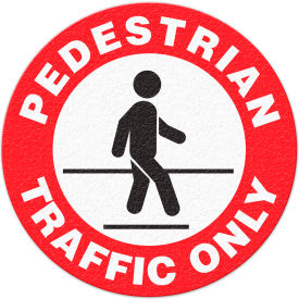 "FS1023V Anti-Slip Safety Floor Sign, Pedestrian Traffic Only, Red/White/Black, 17""Dia., FS1023V"