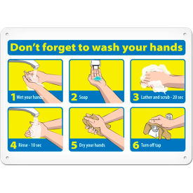 don?t forget to wash your hands sign, 7? x 10?, vinyl adhesive Don?t Forget To Wash Your Hands Sign, 7? X 10?, Vinyl Adhesive