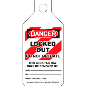 accuform kdd166 stopout® tab tags, danger locked out do not operate, plastic Accuform KDD166 Stopout® Tab Tags, Danger Locked Out Do Not Operate, Plastic