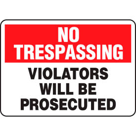 "accuform matr900vs no trespassing sign, violators will be prosecuted, 14""w x 10""h, adhesive vinyl Accuform MATR900VS No Trespassing Sign, Violators Will Be Prosecuted, 14""W x 10""H, Adhesive Vinyl"