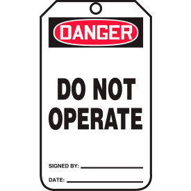 accuform mdt189ptp danger do not operate tag, rp-plastic, 25/pack Accuform MDT189PTP Danger Do Not Operate Tag, RP-Plastic, 25/Pack