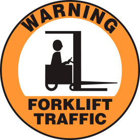 "accuform mfs2817 warning forklift traffic floor sign, 17"" diameter, adhesive vinyl, 1 Accuform MFS2817 Warning Forklift Traffic Floor Sign, 17"" Diameter, Adhesive Vinyl, 1"
