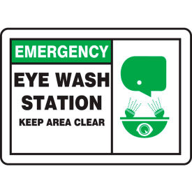 "accuform mfsd928va emergency sign, eye wash station keep area clear (graphic), 10""w x 7""h, aluminum Accuform MFSD928VA Emergency Sign, Eye Wash Station Keep Area Clear (Graphic), 10""W x 7""H, Aluminum"