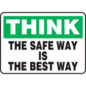 "accuform mgnf983vs think sign, the safe way is the best way, 10""w x 7""h, adhesive vinyl Accuform MGNF983VS Think Sign, The Safe Way Is The Best Way, 10""W x 7""H, Adhesive Vinyl"
