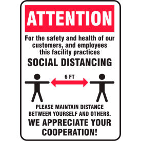 "accuform® attention, safety and health social distancing sign, 10"" h x 7"" w, plastic Accuform® Attention, Safety And Health Social Distancing Sign, 10"" H x 7"" W, Plastic"