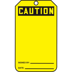 accuform mgt200ptp caution tag, caution, rp-plastic, 25/pack Accuform MGT200PTP Caution Tag, Caution, RP-Plastic, 25/Pack