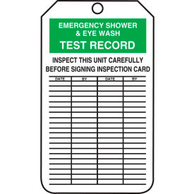accuform mgt207ctp emergency shower & eyewash test record tag, pf-cardstock, 25/pack Accuform MGT207CTP Emergency Shower & Eyewash Test Record Tag, PF-Cardstock, 25/Pack