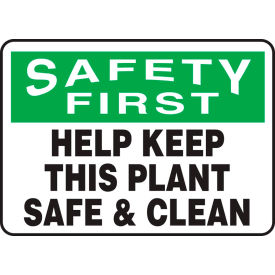 "accuform mhsk950va safety first sign, help keep this plant safe & clean, 14""w x 10""h, aluminum Accuform MHSK950VA Safety First Sign, Help Keep This Plant Safe & Clean, 14""W x 10""H, Aluminum"