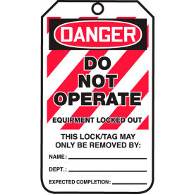 accuform mlt405ptp lockout tag, danger do not operate, rp-plastic, 25/pack Accuform MLT405PTP Lockout Tag, Danger Do Not Operate, RP-Plastic, 25/Pack