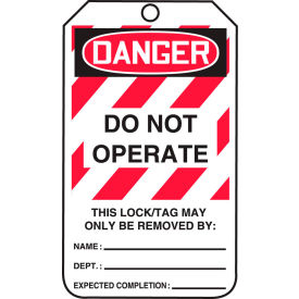 accuform mlt406ptp lockout tag, danger do not operate, rp-plastic, 25/pack Accuform MLT406PTP Lockout Tag, Danger Do Not Operate, RP-Plastic, 25/Pack