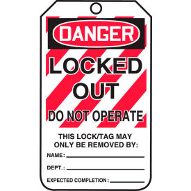accuform mlt407ptp lockout tag, danger locked out do not operate, rp-plastic, 25/pack Accuform MLT407PTP Lockout Tag, Danger Locked Out Do Not Operate, RP-Plastic, 25/Pack
