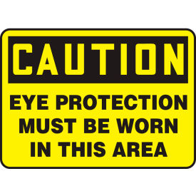 "accuform mppa605vp caution sign, eye protection must be worn in this area, 10""w x 7""h, plastic Accuform MPPA605VP Caution Sign, Eye Protection Must Be Worn In This Area, 10""W x 7""H, Plastic"