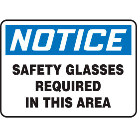 "accuform mppa801vp notice sign, safety glasses required in this area, 14""w x 10""h, plastic Accuform MPPA801VP Notice Sign, Safety Glasses Required In This Area, 14""W x 10""H, Plastic"