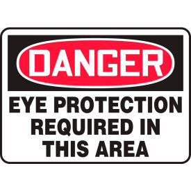 "accuform mppe010vs danger sign, eye protection required in this area, 14""w x 10""h, adhesive vinyl Accuform MPPE010VS Danger Sign, Eye Protection Required In This Area, 14""W x 10""H, Adhesive Vinyl"