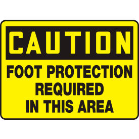 "accuform mppe408vp caution sign, foot protection required in this area, 10""w x 7""h, plastic Accuform MPPE408VP Caution Sign, Foot Protection Required In This Area, 10""W x 7""H, Plastic"