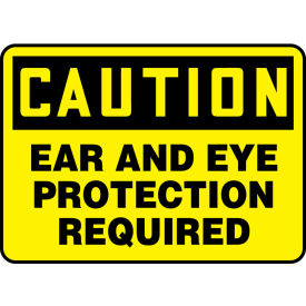 "accuform mppe436va caution sign, ear and eye protection required, 10""w x 7""h, aluminum Accuform MPPE436VA Caution Sign, Ear And Eye Protection Required, 10""W x 7""H, Aluminum"