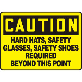 "accuform mppe441va caution sign, hard hats, safety glasses..., 10""w x 7""h, aluminum Accuform MPPE441VA Caution Sign, Hard Hats, Safety Glasses..., 10""W x 7""H, Aluminum"