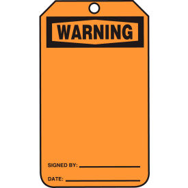 accuform mwgt205ptp warning tag, rp-plastic, 25/pack Accuform MWGT205PTP Warning Tag, RP-Plastic, 25/Pack