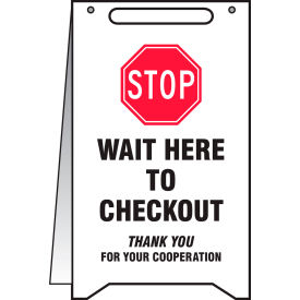 "accuform® a-frame floor sign, stop wait here to checkout, 20"" h x 12"" w, plastic Accuform® A-Frame Floor Sign, Stop Wait Here to Checkout, 20"" H x 12"" W, Plastic"