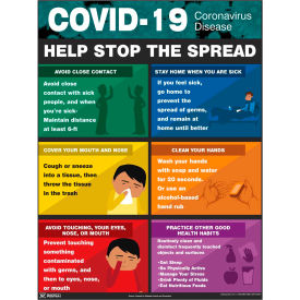 "covid-19 coronavirus ""help stop the spread"" safety poster, 17"" x 22"", laminated paper COVID-19 Coronavirus ""Help Stop the Spread"" Safety Poster, 17"" X 22"", Laminated Paper"