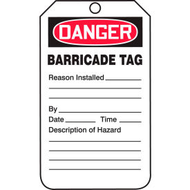 accuform tab104ptp danger barricade tag, rp-plastic, 25/pack Accuform TAB104PTP Danger Barricade Tag, RP-Plastic, 25/Pack