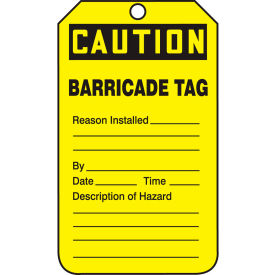 accuform tab105ptp caution barricade tag, rp-plastic, 25/pack Accuform TAB105PTP Caution Barricade Tag, RP-Plastic, 25/Pack