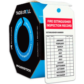 accuform tar732 fire extinguisher inspection, pf-cardstock, 250/roll Accuform TAR732 Fire Extinguisher Inspection, PF-Cardstock, 250/Roll