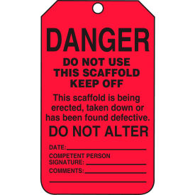 accuform tss101ctp danger do not use this scaffold keep off tag, pf-cardstock, 25/pack Accuform TSS101CTP Danger Do Not Use This Scaffold Keep Off Tag, PF-Cardstock, 25/Pack