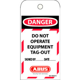 abus t100 laminated vinyl do not operate safety lockout tag, 73004 ABUS T100 Laminated Vinyl DO NOT OPERATE Safety Lockout Tag, 73004
