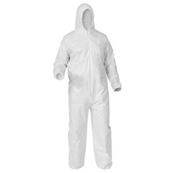 KleenGuard* A35 Liquid & Particle Protection Coveralls, Hood, Elastic Wrist & Ankles, Large