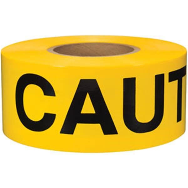 "Presco Barricade Tape, 2.5 mil, ""Caution"", Yellow, 8/Case"