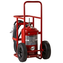 "Buckeye 150 lb ABC Stored Pressure Wheeled Extinguisher w/ Semi-Pneumatic Rubber Wheels, 51""H x 26""W x 38""D, 30A:240B:C"