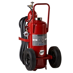 "Buckeye 125 lb ABC Regulated Pressure Wheeled Extinguisher w/ Semi-Pneumatic Rubber Wheels,  50""H x 24""W x 42""D, 30A:240B:C"