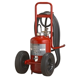 "Buckeye 125 lb Purple K Cartridge Operated Wheeled Extinguisher w/ Semi-Pneumatic Rubber Wheels, 50""H x 24""W x 42""D, 320B:C"