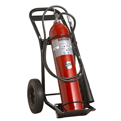 "Buckeye 50 lb CO2 Wheeled Extinguisher w/ Rubber Tires, 60""H x 31""W x 21""D, 20B:C"