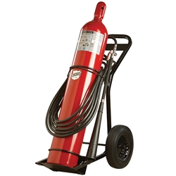 "Buckeye 100 lb CO2 Wheeled Extinguisher w/ Rubber Tires, 65""H x 30""W x 21""D, 20B:C"