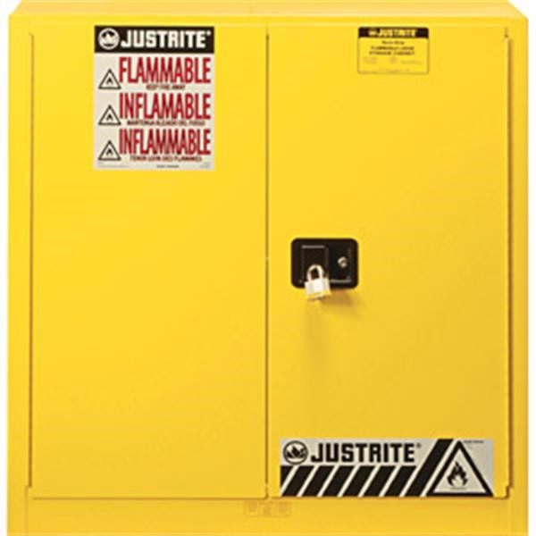 "Justrite® Sure-Grip® EX Safety Cabinets w/ Manual Doors, 40 gal, 44""H x 43""W x 18""D, 3 Shelves (Combustibles)"