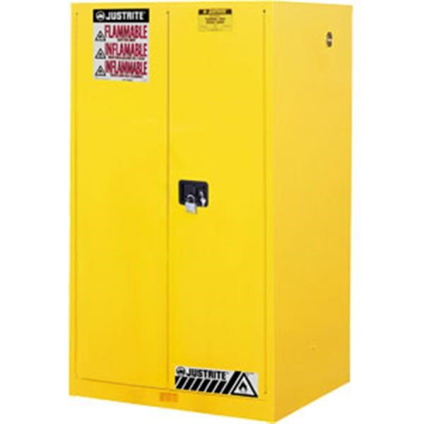 "Justrite® Sure-Grip® EX Safety Cabinets w/ Manual Doors, 60 gal, 65""H x 34""W x 34""D, 2 Shelves"